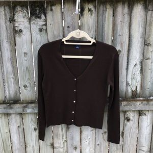 Ann Taylor elegant cardigan, brown 100% silk S